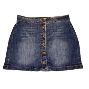 INDIGO REIN Button Down Front Mini Jean Skirt 7